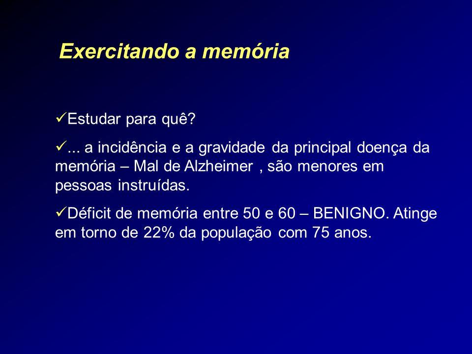 Estudar para quê?... a incidência e a gravidade da principal doença da memória – Mal de Alzheimer, são menores em pessoas instruídas. Déficit de memór