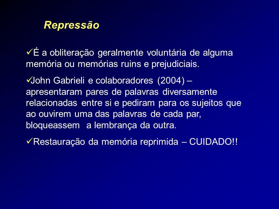 Repressão É a obliteração geralmente voluntária de alguma memória ou memórias ruins e prejudiciais. John Gabrieli e colaboradores (2004) – apresentara