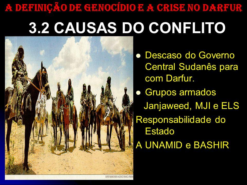 3.2 CAUSAS DO CONFLITO Descaso do Governo Central Sudanês para com Darfur. Grupos armados Janjaweed, MJI e ELS Responsabilidade do Estado A UNAMID e B
