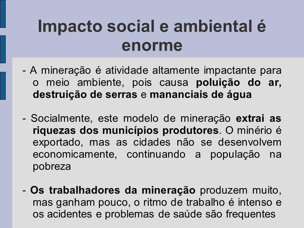 Impacto social e ambiental é enorme - A mineração é atividade altamente impactante para o meio ambiente, pois causa poluição do ar, destruição de serr