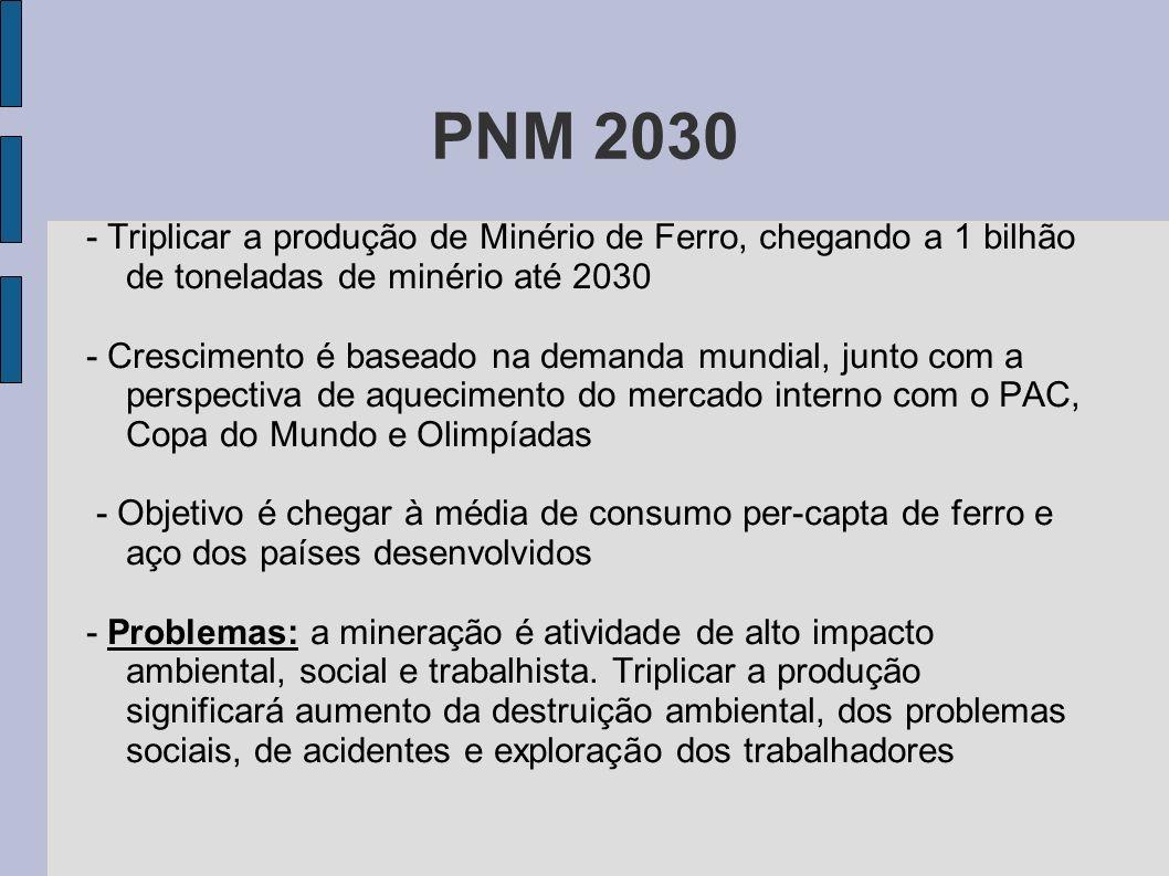 PNM 2030 - Triplicar a produção de Minério de Ferro, chegando a 1 bilhão de toneladas de minério até 2030 - Crescimento é baseado na demanda mundial,
