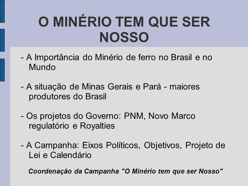 O MINÉRIO TEM QUE SER NOSSO - A Importância do Minério de ferro no Brasil e no Mundo - A situação de Minas Gerais e Pará - maiores produtores do Brasi