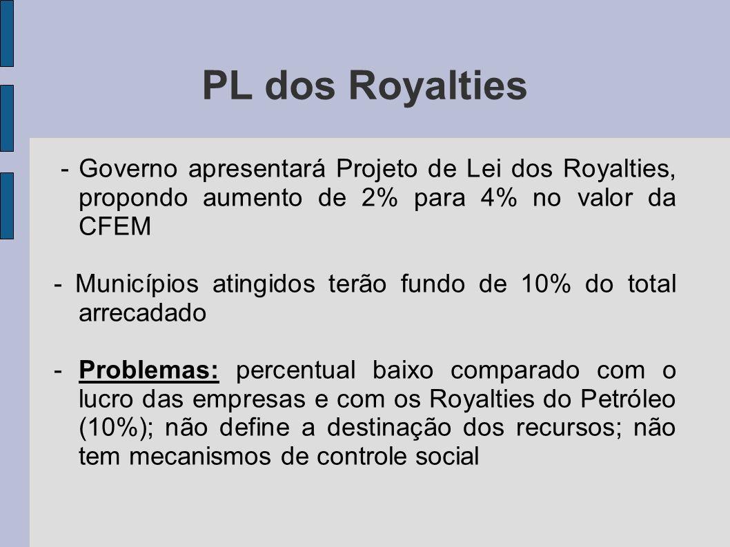 PL dos Royalties - Governo apresentará Projeto de Lei dos Royalties, propondo aumento de 2% para 4% no valor da CFEM - Municípios atingidos terão fund