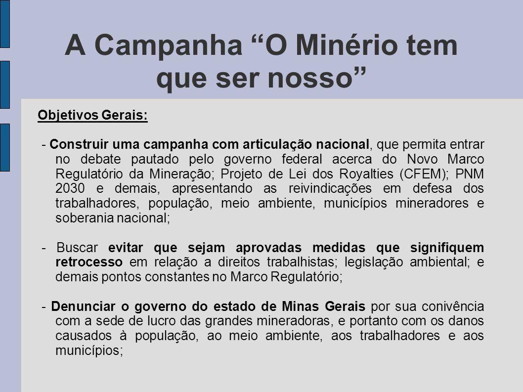 A Campanha O Minério tem que ser nosso Objetivos Gerais: - Construir uma campanha com articulação nacional, que permita entrar no debate pautado pelo