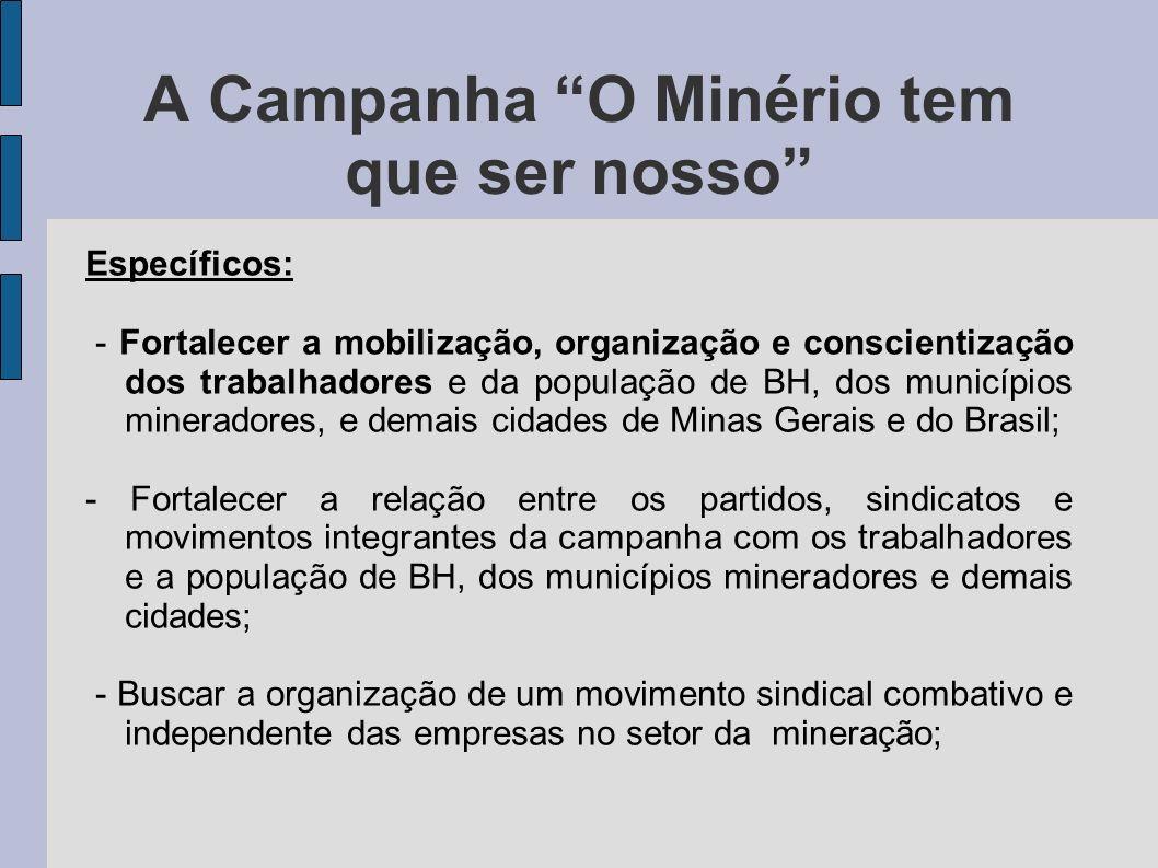 A Campanha O Minério tem que ser nosso Específicos: - Fortalecer a mobilização, organização e conscientização dos trabalhadores e da população de BH,