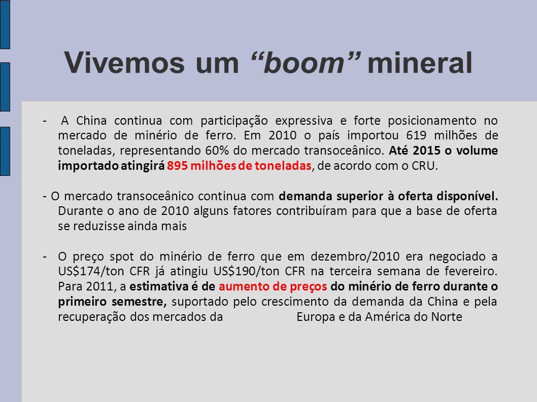 Vivemos um boom mineral - A China continua com participação expressiva e forte posicionamento no mercado de minério de ferro. Em 2010 o país importou