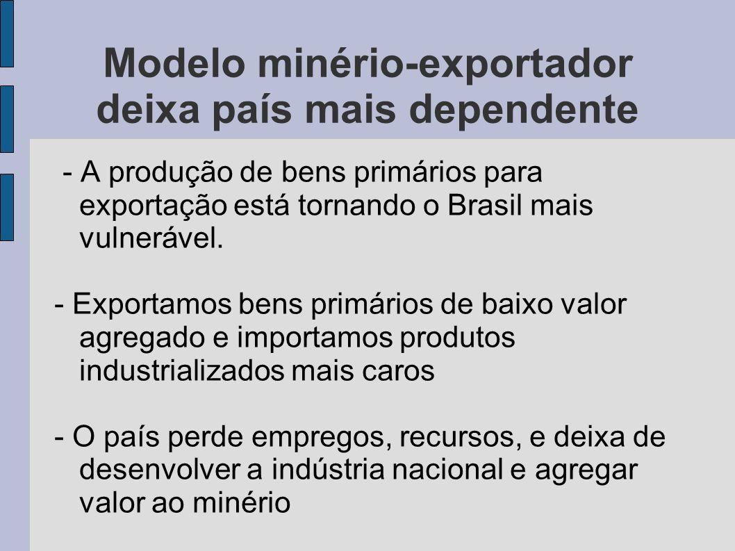Modelo minério-exportador deixa país mais dependente - A produção de bens primários para exportação está tornando o Brasil mais vulnerável. - Exportam