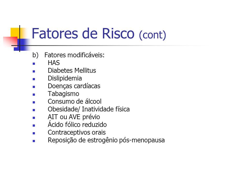 Fatores de Risco (cont) b) Fatores modificáveis: HAS Diabetes Mellitus Dislipidemia Doenças cardíacas Tabagismo Consumo de álcool Obesidade/ Inativida