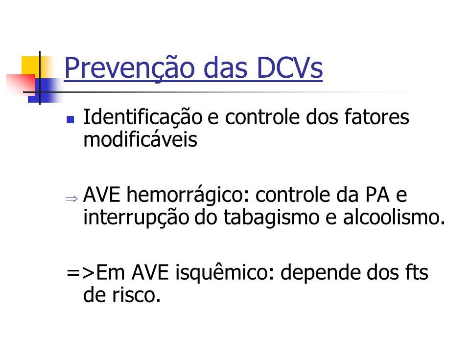 Prevenção das DCVs Identificação e controle dos fatores modificáveis AVE hemorrágico: controle da PA e interrupção do tabagismo e alcoolismo. =>Em AVE