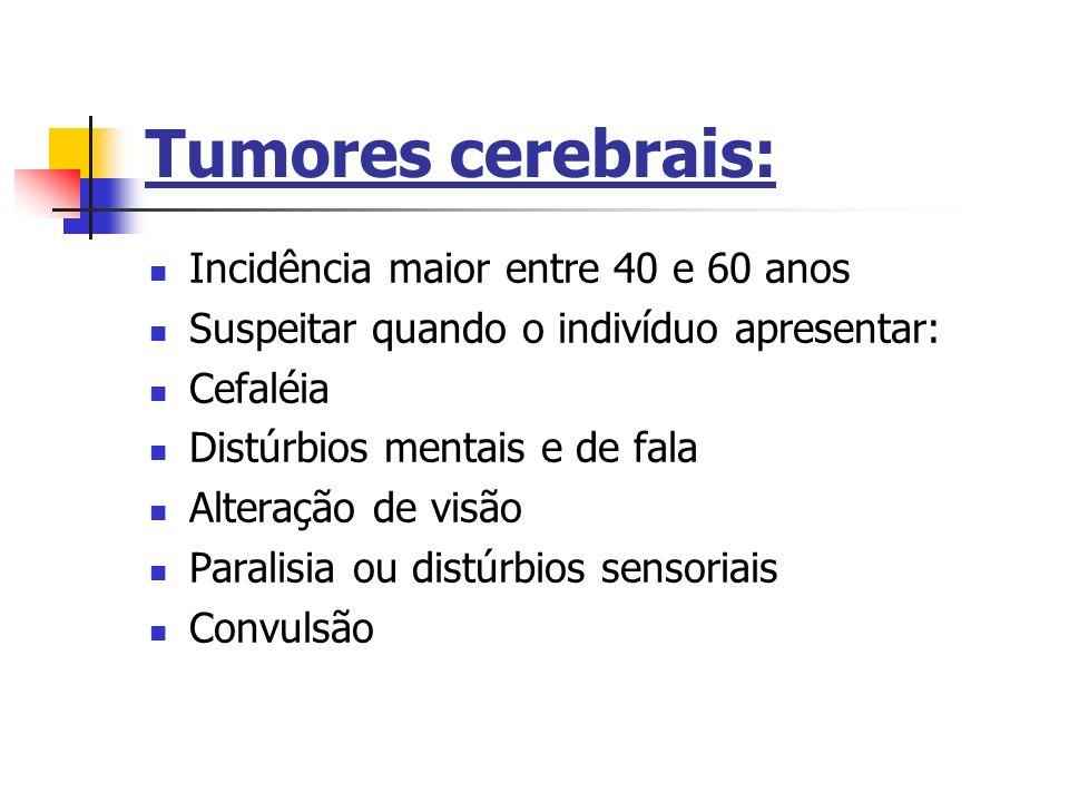 Tumores cerebrais: Incidência maior entre 40 e 60 anos Suspeitar quando o indivíduo apresentar: Cefaléia Distúrbios mentais e de fala Alteração de vis