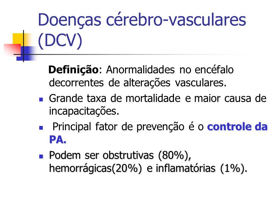 Doenças cérebro-vasculares (DCV) Definição: Anormalidades no encéfalo decorrentes de alterações vasculares. Grande taxa de mortalidade e maior causa d