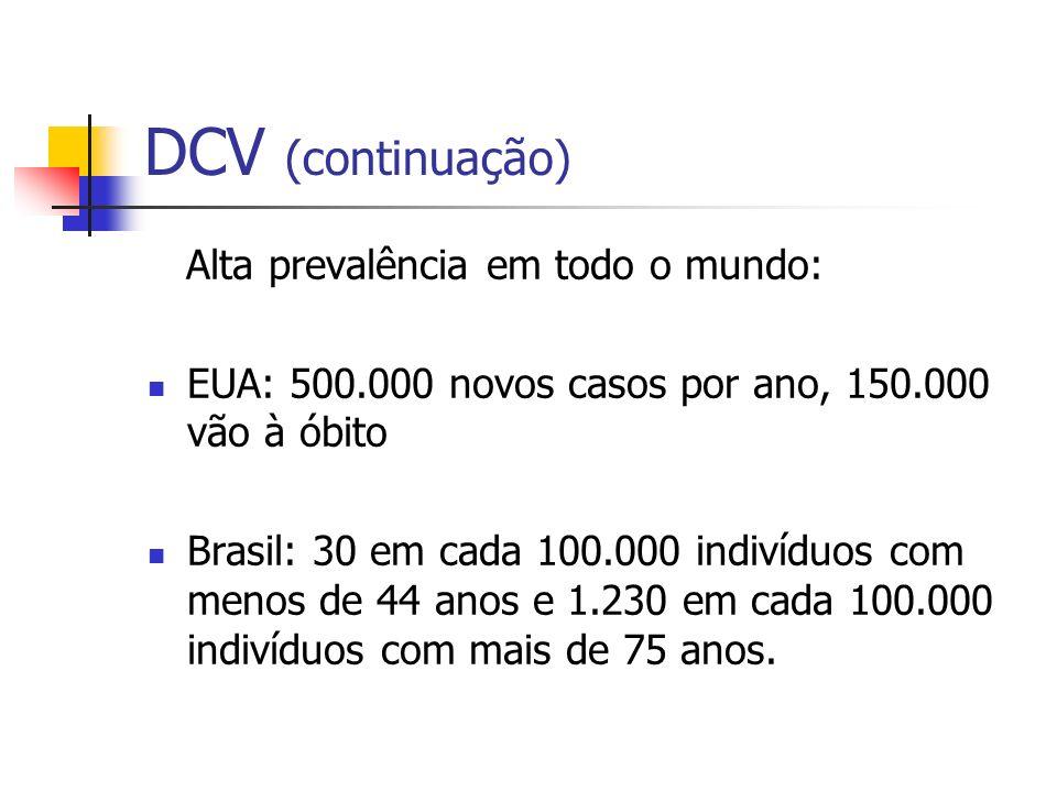 DCV (continuação) Alta prevalência em todo o mundo: EUA: 500.000 novos casos por ano, 150.000 vão à óbito Brasil: 30 em cada 100.000 indivíduos com me