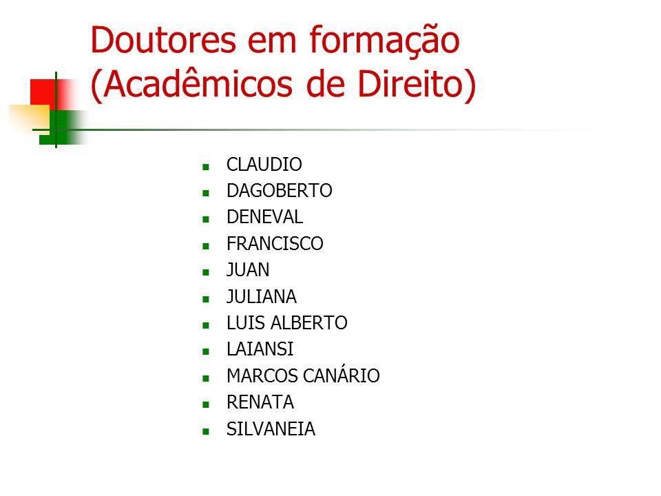 Doutores em formação (Acadêmicos de Direito) CLAUDIO DAGOBERTO DENEVAL FRANCISCO JUAN JULIANA LUIS ALBERTO LAIANSI MARCOS CANÁRIO RENATA SILVANEIA