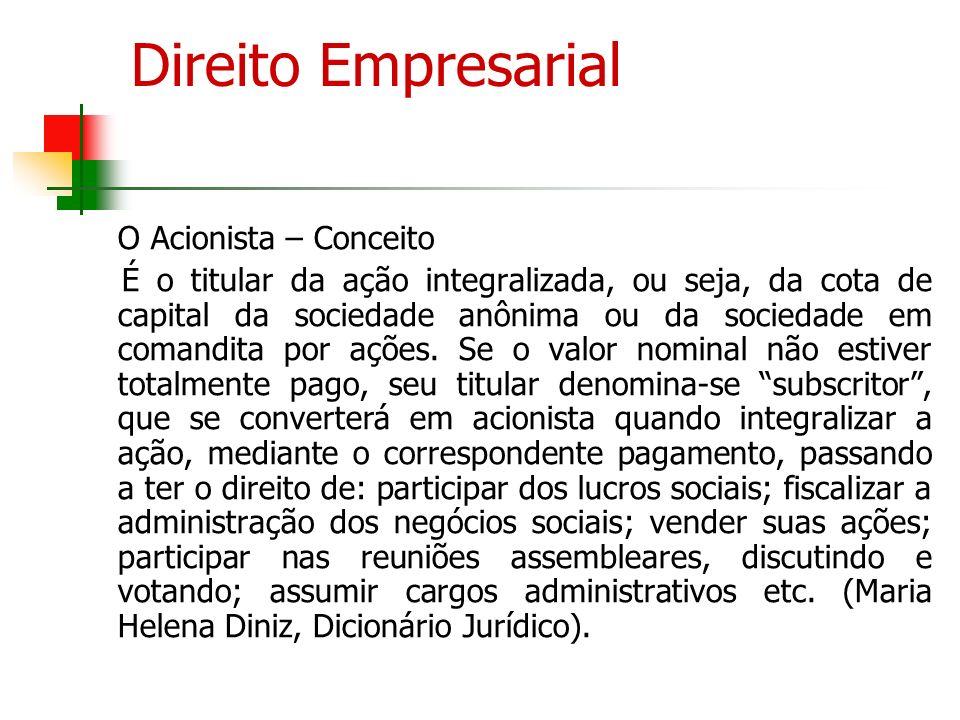 Direito Empresarial II O Acionista O Acionista – Deveres Dever de lealdade, para com a companhia e para com os demais acionistas (Arts.