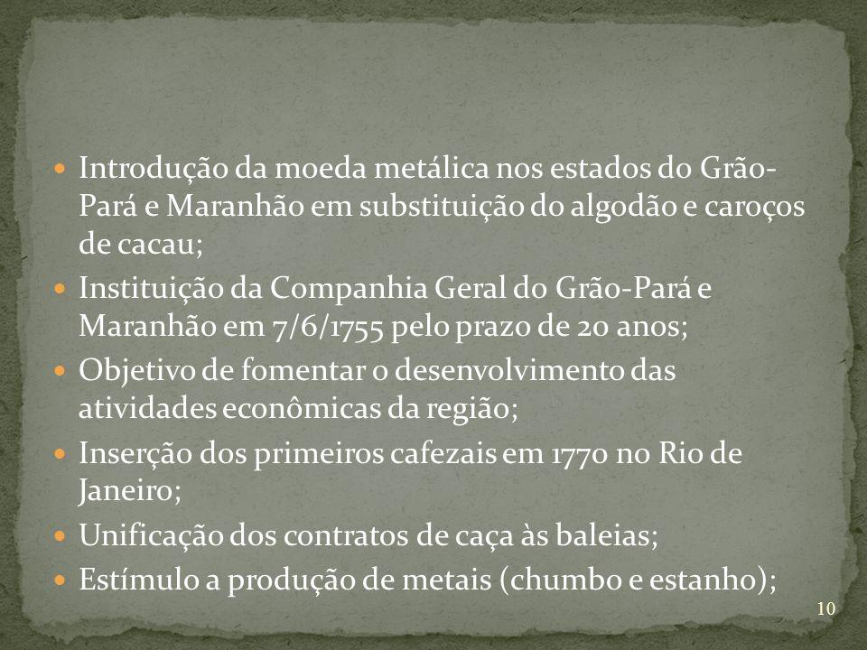 Introdução da moeda metálica nos estados do Grão- Pará e Maranhão em substituição do algodão e caroços de cacau; Instituição da Companhia Geral do Grã