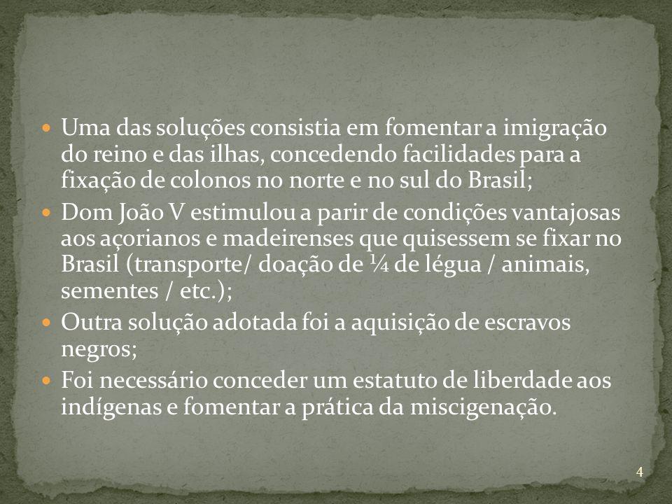 Uma das soluções consistia em fomentar a imigração do reino e das ilhas, concedendo facilidades para a fixação de colonos no norte e no sul do Brasil;