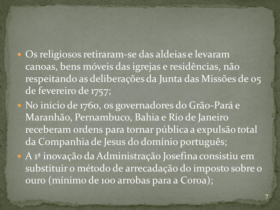 Os religiosos retiraram-se das aldeias e levaram canoas, bens móveis das igrejas e residências, não respeitando as deliberações da Junta das Missões d