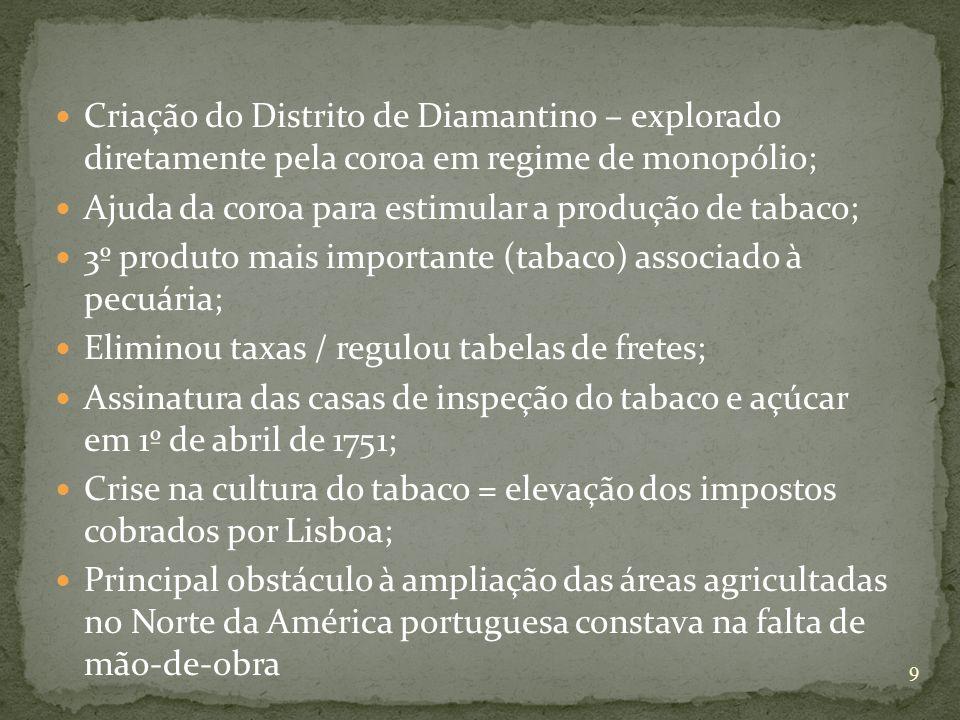 Criação do Distrito de Diamantino – explorado diretamente pela coroa em regime de monopólio; Ajuda da coroa para estimular a produção de tabaco; 3º produto mais importante (tabaco) associado à pecuária; Eliminou taxas / regulou tabelas de fretes; Assinatura das casas de inspeção do tabaco e açúcar em 1º de abril de 1751; Crise na cultura do tabaco = elevação dos impostos cobrados por Lisboa; Principal obstáculo à ampliação das áreas agricultadas no Norte da América portuguesa constava na falta de mão-de-obra 9