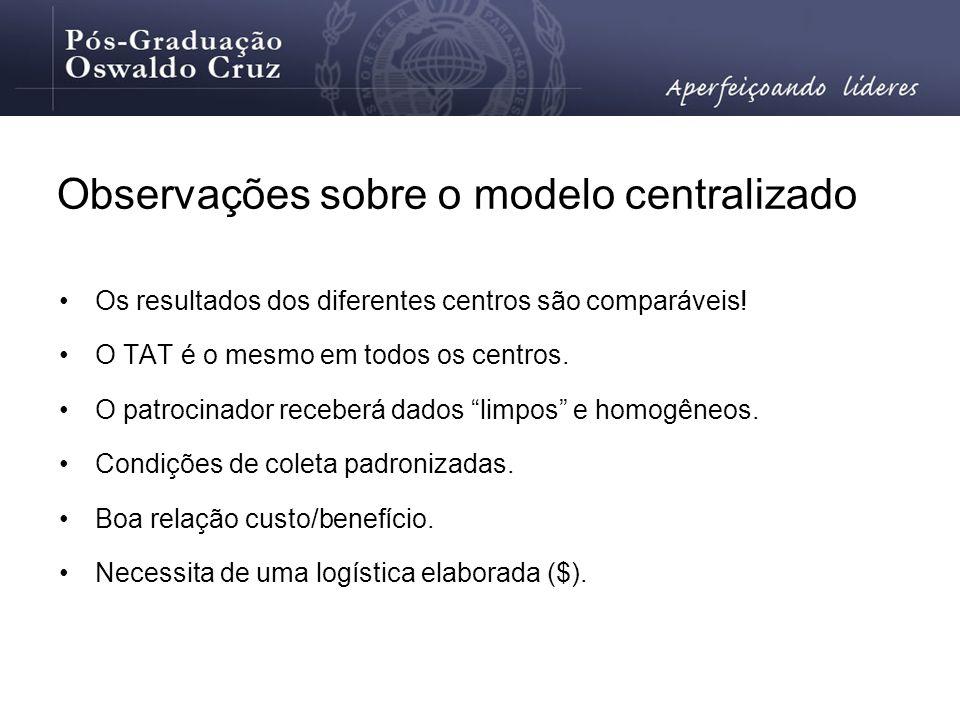 Observações sobre o modelo centralizado Os resultados dos diferentes centros são comparáveis! O TAT é o mesmo em todos os centros. O patrocinador rece