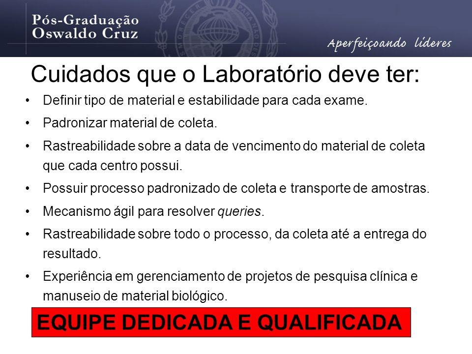 Cuidados que o Laboratório deve ter: Definir tipo de material e estabilidade para cada exame. Padronizar material de coleta. Rastreabilidade sobre a d
