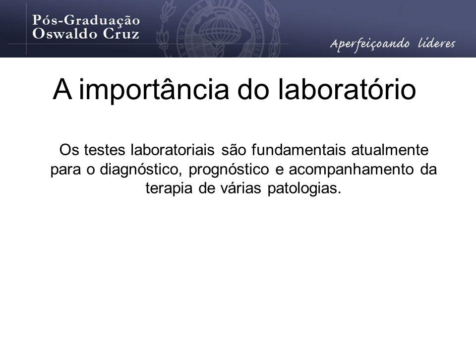 A importância do laboratório Os testes laboratoriais são fundamentais atualmente para o diagnóstico, prognóstico e acompanhamento da terapia de várias