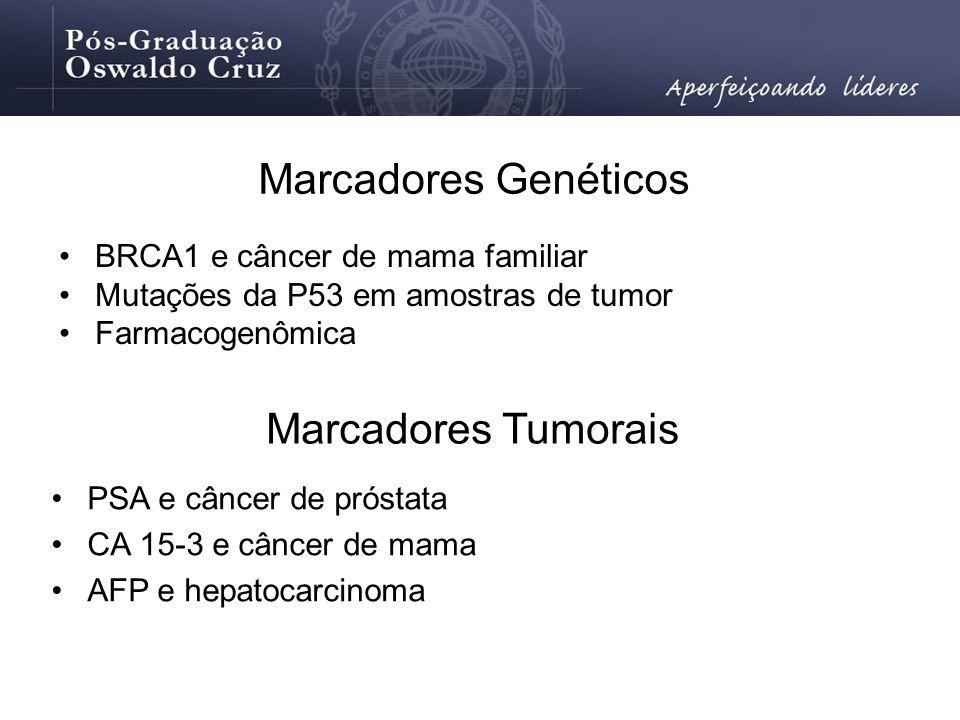 Marcadores Genéticos BRCA1 e câncer de mama familiar Mutações da P53 em amostras de tumor Farmacogenômica Marcadores Tumorais PSA e câncer de próstata