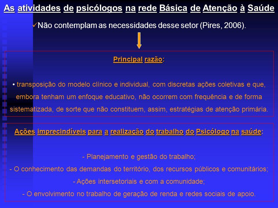 AsatividadesdepsicólogosnaredeBásicadeAtençãoàSaúde As atividades de psicólogos na rede Básica de Atenção à Saúde Não contemplam as necessidades desse