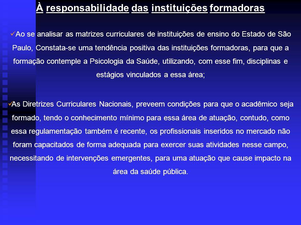 Ao se analisar as matrizes curriculares de instituições de ensino do Estado de São Paulo, Constata-se uma tendência positiva das instituições formador