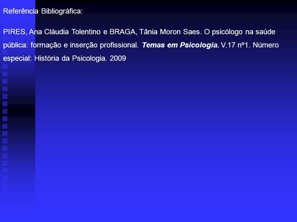 Referência Bibliográfica: PIRES, Ana Cláudia Tolentino e BRAGA, Tânia Moron Saes. O psicólogo na saúde pública: formação e inserção profissional. Tema