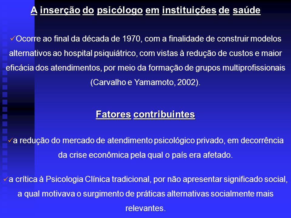 O grande desenvolvimento aconteceu nos anos de 1980, com a realização de diversos concursos públicos em instituições municipais, estaduais e federais de saúde (Sebastiani, 2003).
