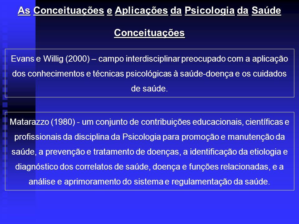 As Conceituações e Aplicações daPsicologiadaSaúde As Conceituações e Aplicações da Psicologia da Saúde Conceituações Evans e Willig (2000) – campo int