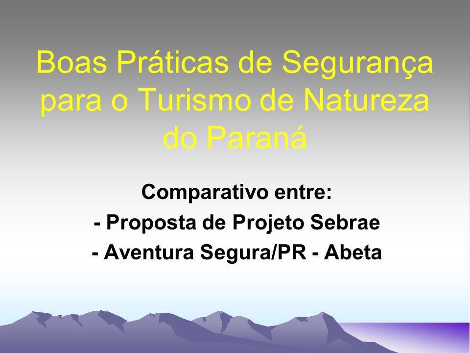 Boas Práticas de Segurança para o Turismo de Natureza do Paraná Comparativo entre: - Proposta de Projeto Sebrae - Aventura Segura/PR - Abeta