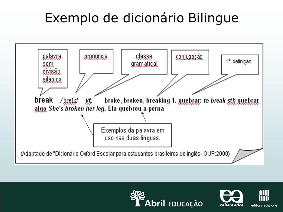Exemplo de dicionário Bilingue