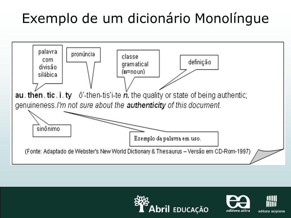 Exemplo de um dicionário Monolíngue