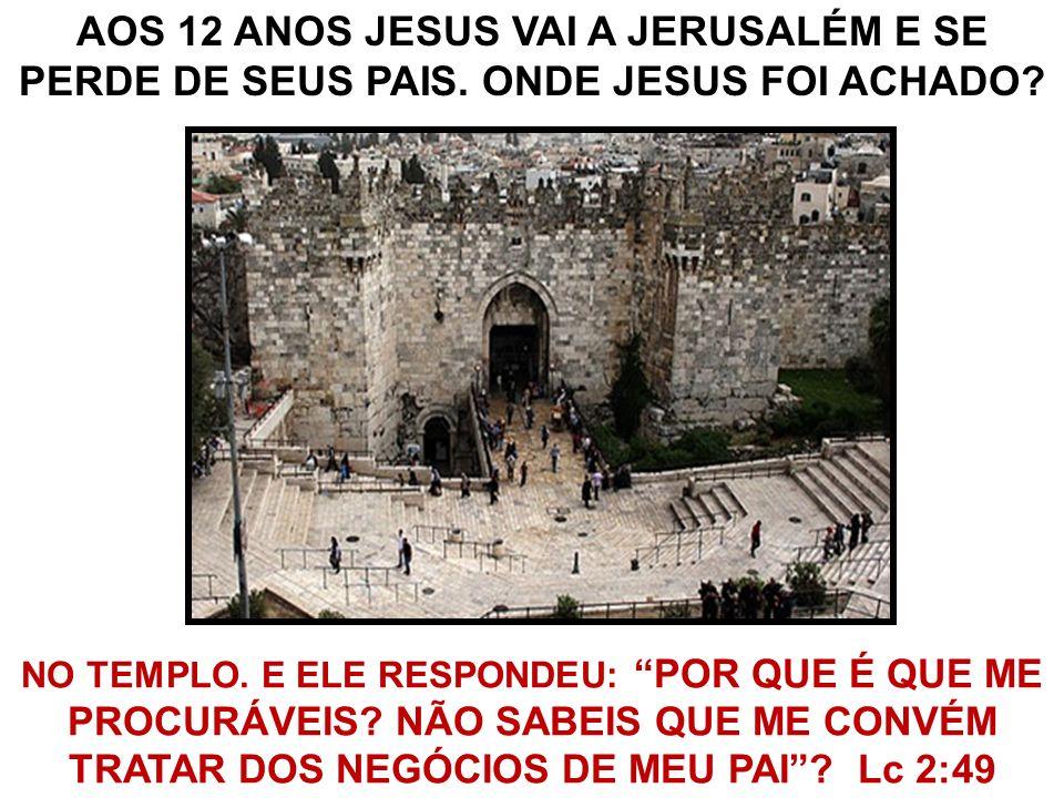 NO TEMPLO. E ELE RESPONDEU: POR QUE É QUE ME PROCURÁVEIS? NÃO SABEIS QUE ME CONVÉM TRATAR DOS NEGÓCIOS DE MEU PAI? Lc 2:49 AOS 12 ANOS JESUS VAI A JER