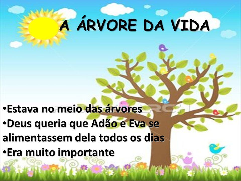 A ÁRVORE DA VIDA Estava no meio das árvores Estava no meio das árvores Deus queria que Adão e Eva se alimentassem dela todos os dias Deus queria que A