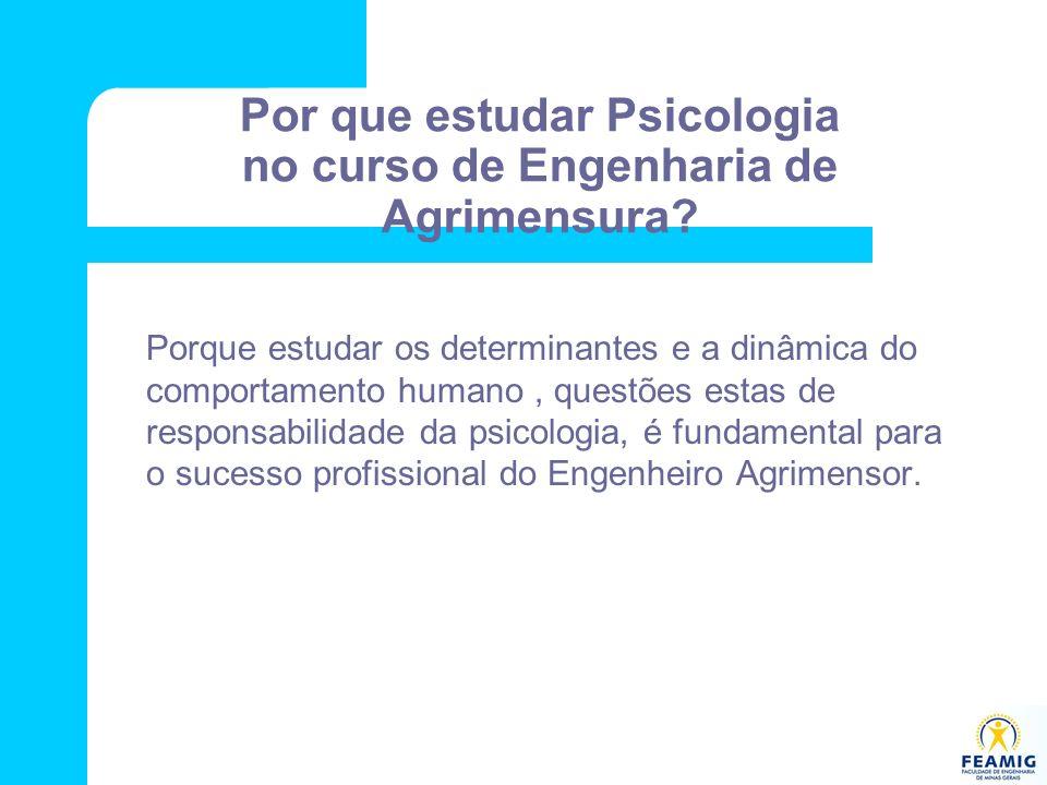 Por que estudar Psicologia no curso de Engenharia de Agrimensura? Porque estudar os determinantes e a dinâmica do comportamento humano, questões estas