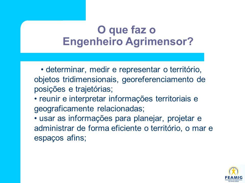 O que faz o Engenheiro Agrimensor? determinar, medir e representar o território, objetos tridimensionais, georeferenciamento de posições e trajetórias