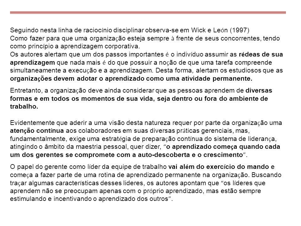 Seguindo nesta linha de racioc í nio disciplinar observa-se em Wick e Le ó n (1997) Como fazer para que uma organiza ç ão esteja sempre à frente de se