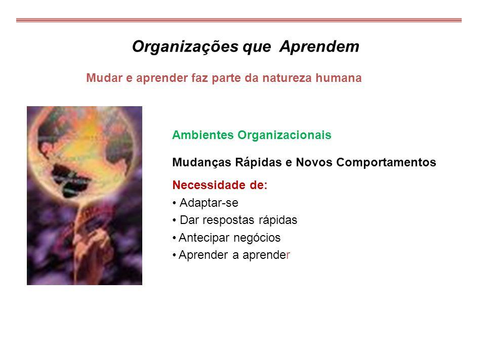 Mudar e aprender faz parte da natureza humana Organizações que Aprendem Ambientes Organizacionais Mudanças Rápidas e Novos Comportamentos Necessidade