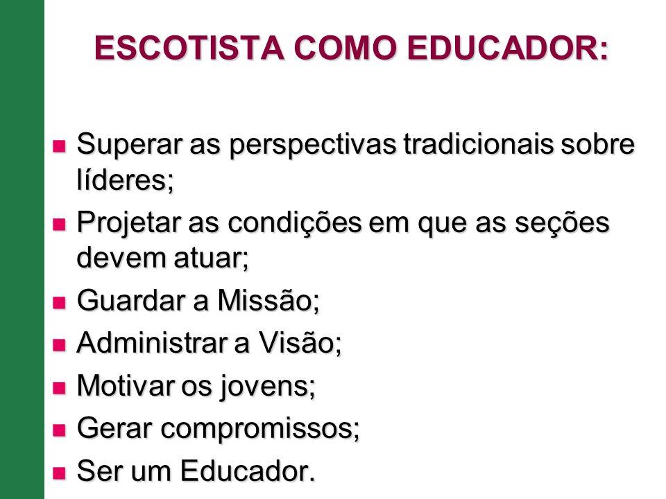 ESCOTISTA COMO EDUCADOR: Superar as perspectivas tradicionais sobre líderes; Superar as perspectivas tradicionais sobre líderes; Projetar as condições