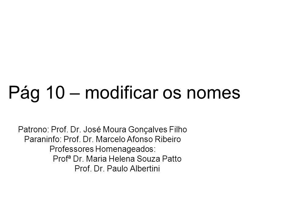 Pág 10 – modificar os nomes Patrono: Prof. Dr. José Moura Gonçalves Filho Paraninfo: Prof. Dr. Marcelo Afonso Ribeiro Professores Homenageados: Profª