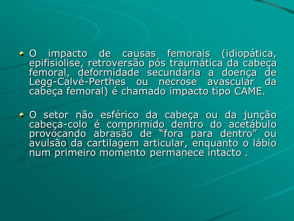 O impacto de causas femorais (idiopática, epifisiolise, retroversão pós traumática da cabeça femoral, deformidade secundária a doença de Legg-Calvé-Pe