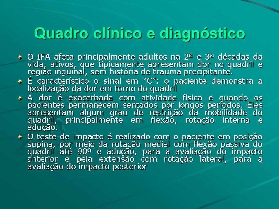 Quadro clínico e diagnóstico O IFA afeta principalmente adultos na 2ª e 3ª décadas da vida, ativos, que tipicamente apresentam dor no quadril e região