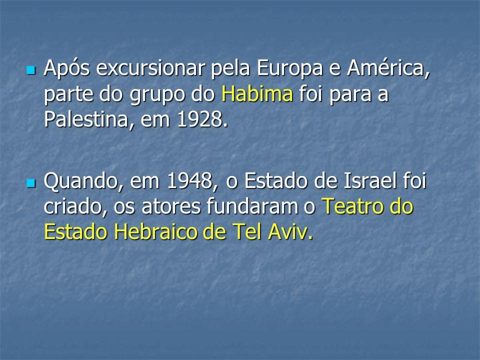 Após excursionar pela Europa e América, parte do grupo do Habima foi para a Palestina, em 1928. Após excursionar pela Europa e América, parte do grupo