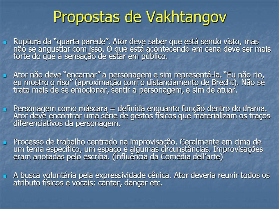 Propostas de Vakhtangov Ruptura da quarta parede. Ator deve saber que está sendo visto, mas não se angustiar com isso. O que está acontecendo em cena