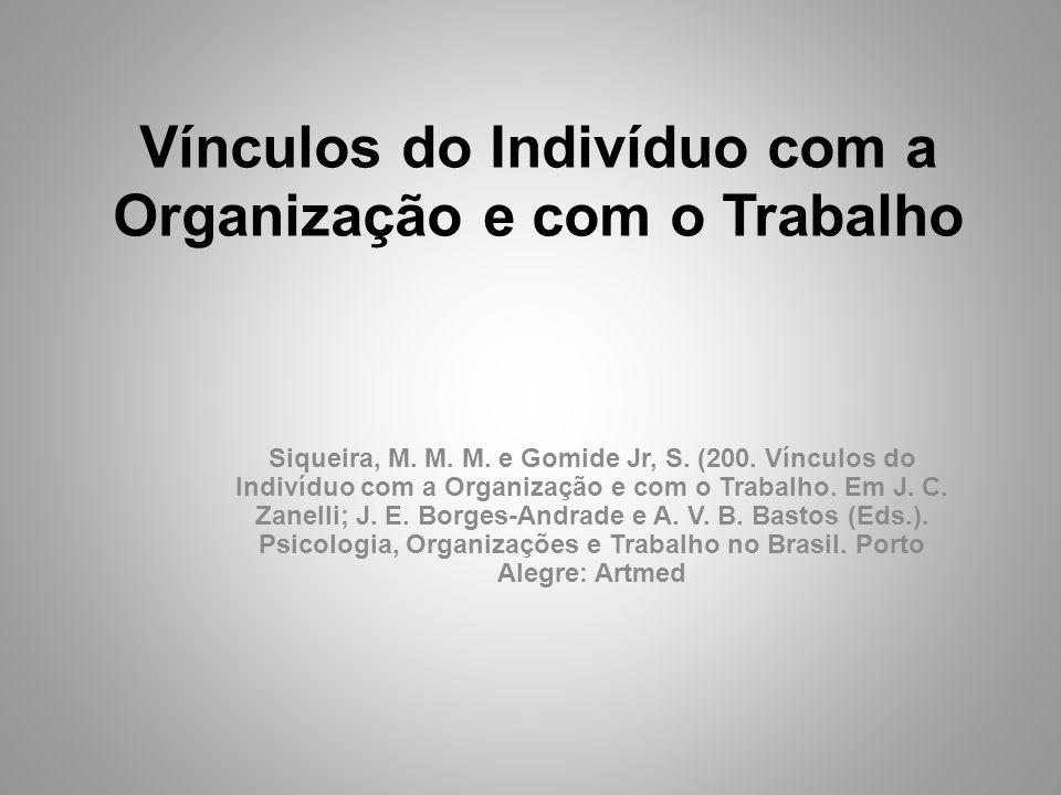 Vínculos do Indivíduo com a Organização e com o Trabalho Siqueira, M.
