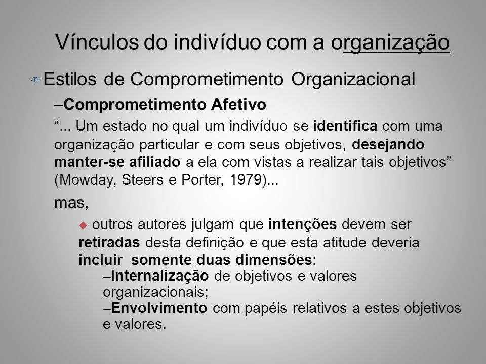 Vínculos do Indivíduo com a Organização F Comprometimento organizacional –Bastos (2000) encontrou, no Brasil, quatro padrões de comprometimento: u Dup