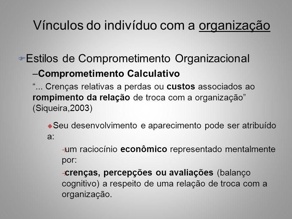 Vínculos do indivíduo com a organização F Estilos de Comprometimento Organizacional ANTECEDENTES CARACTERÍSTICAS PESSOAIS (fracas correlações) CARACTE