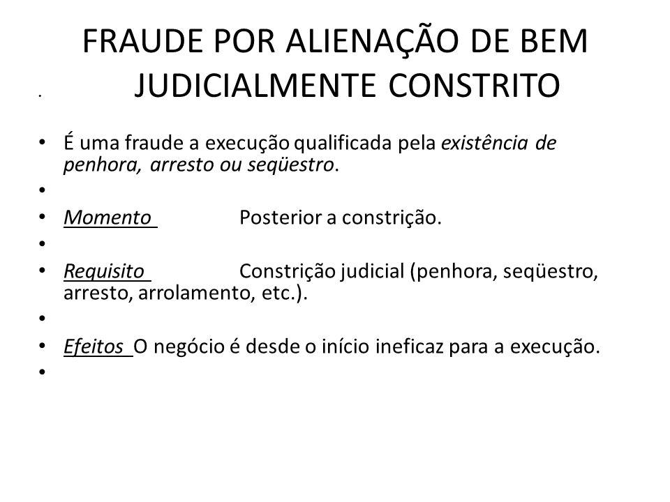 FRAUDE POR ALIENAÇÃO DE BEM JUDICIALMENTE CONSTRITO É uma fraude a execução qualificada pela existência de penhora, arresto ou seqüestro. Momento Post